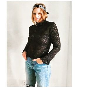 VTG 90s Foreza Lace Mock Neck Cropped Top BLK Sm